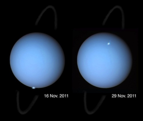 "Hubble captures first pictures of auroras on Uranus NASA's Hubble space telescope has captured the first images of auroras on the ice giant Uranus. Uranus, the seventh planet from the sun, is an oddball world. At some point in its past, the planet appears to have been knocked on its side, so now its ""North Pole"" sits where the equator on most planets is located. The newly observed auroras — seen as tiny white dots in the image above — underscore just how strange Uranus really is. Auroras, also known as the Northern Lights, appear on Earth when the solar wind – a stream of charged particles emanating from the sun — interacts with our planet's magnetic field. While terrestrial auroras appear as giant green curtains of light and may last hours, the auroras seen recently on Uranus were relatively small and stuck around only a few minutes. Scientists don't know much about Uranus' magnetic field because it has only been investigated in detail once, 25 years ago when the Voyager 2 satellite zoomed by. At that time, Voyager detected auroras but Earth-based attempts to reexamine the atmospheric phenomenon on Uranus have all failed since."