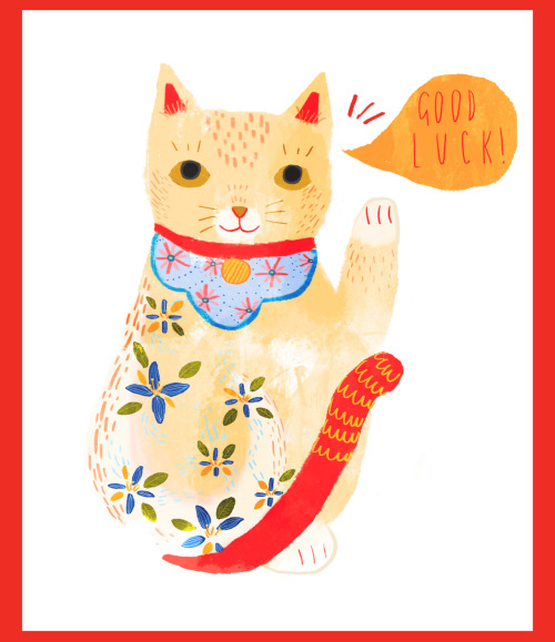 eatsleepdraw most happy wish:  Maneki Neko by Sophie Blackhall-Cain Etsy shop here  where you can buy this greeting card!