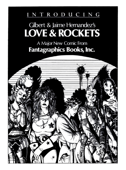 Promotional ad for Love and Rockets #1 with art by Jaime Hernandez, 1982.