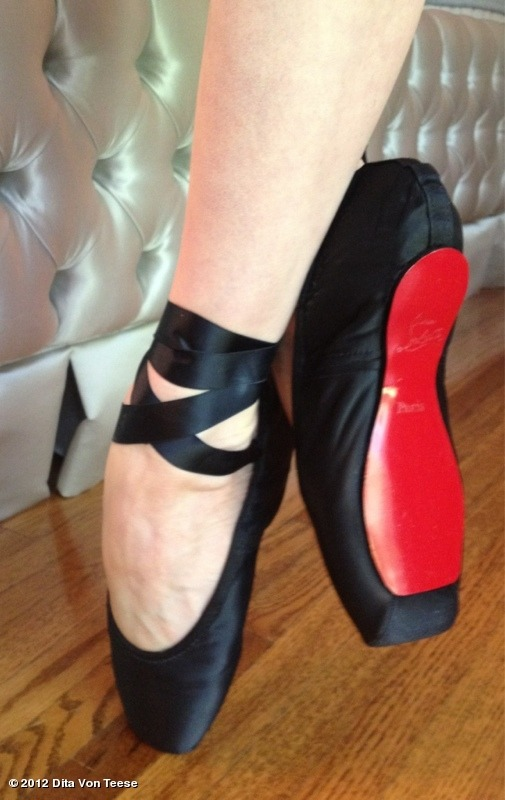 Dita Von Teese's custom made Louboutin ballet shoes