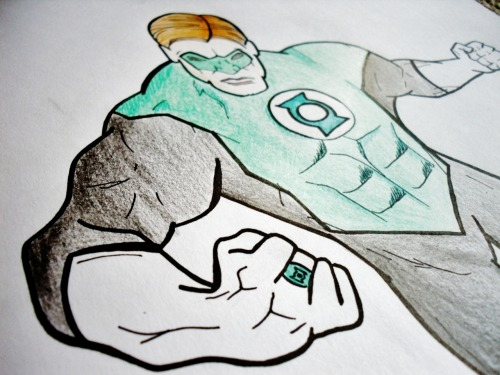 'Green Lantern'Frana BatisticPen + pencil on paper2012  Part of the superhero group my friend has asked me to draw..
