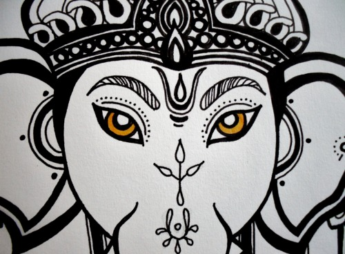'I Am Not Ganesh' (Completed!)Frana BatisticPen on paper2012  By 'completed' i mean i only ended up adding colour to the eyes, didn't want to overdo it!