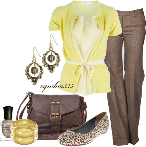Soft Yellow by cynthia335 featuring gold jewelrySacai Luck belted shirt£190 - farfetch.comAlberto Biani tweed pants$195 - yoox.comTOMS suede shoes£65 - soletrader.co.ukBrown handbag£25 - fashionunion.comBarse smokey quartz earrings$35 - amazon.comA V Max gold jewelry$30 - lespommettes.comDeborah Lippmann metallic nail polish$16 - neimanmarcus.com