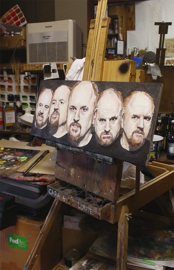 "suicideblonde:  LOUIS CK Pt II An original painting on panel by thegryllus ""I open my fucking stupid mouth and put water in it."" - Louis CK, when asked what he does to get ready for a show."