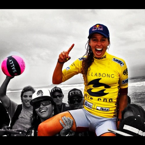 @sally_fitz being chaired up the beach! #billabongriopro #gosally #winning (Taken with instagram)