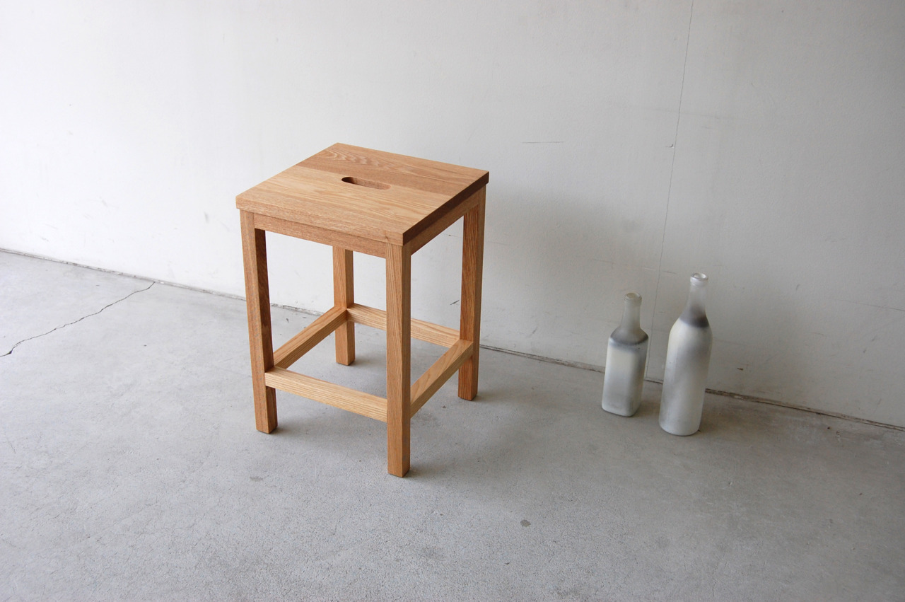 127 | 01_Standard furniture Frame stool wt  : W300 D300 H440 / Solid ash oil finish