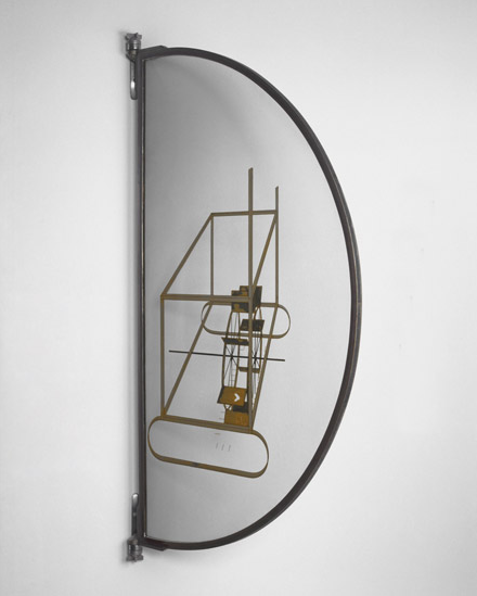 archives-dada:  Marcel Duchamp, Glider Containing a Water Mill in Neighboring Metals, 1913-15, Oil and lead wire on glass, 59 3/8 x 32 15/16 inches (150.8 x 83.7 cm) © Artists Rights Society (ARS), New York / ADAGP, Paris / Estate of Marcel Duchamp