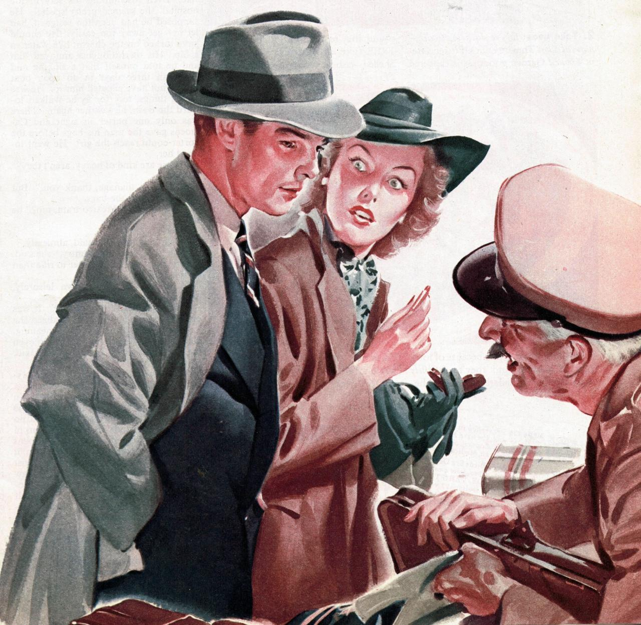 Story illustration by Elmore Brown, for Collier's magazine; March 13, 1943