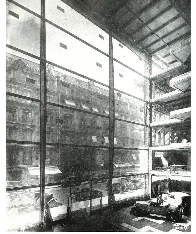 Inside an automobile showroom in Rue Marbeuf, Paris