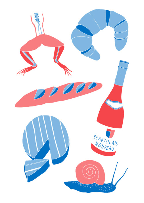 'French Food'Edition of 25 2 Colour A3 Risograph Print Munken Polar 170gsm Signed and Numbered by the artist     Unframed £25(plus postage & packaging) UK ONLY     Framed £40(plus postage & packaging) UK ONLY