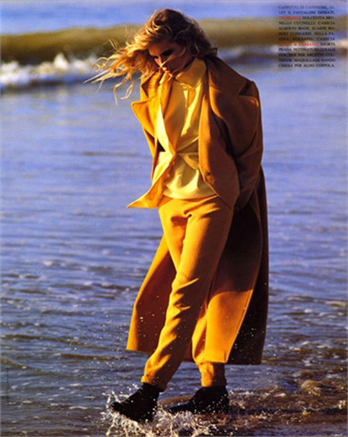 shopface:  cool waters in coloured suits. Photo by Marco Glaviano, 1991Vogue italia, September 1991