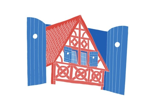 'A French House 'Edition of 25 2 Colour A3 Risograph Print Munken Polar 170gsm Signed and Numbered by the artist     Unframed £25(plus postage & packaging) UK ONLY     Framed £40(plus postage & packaging) UK ONLY