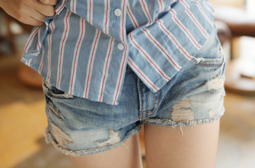 My shirt, her denim shorts