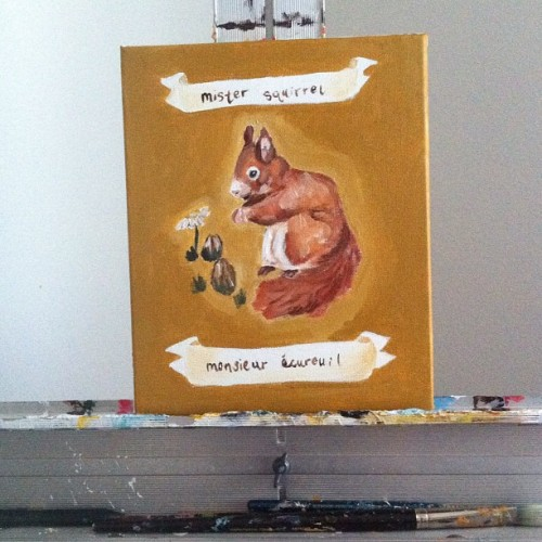 New posting on my etsy #painting #art #squirrel #french #etsy #nursery (Taken with instagram)