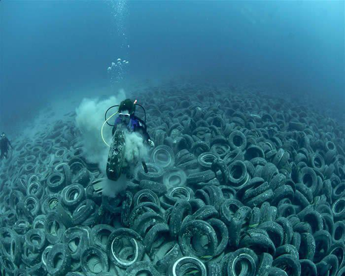 The Osborne Reef, a man-made reef consisting of 2 million tires, rots on the ocean floor.