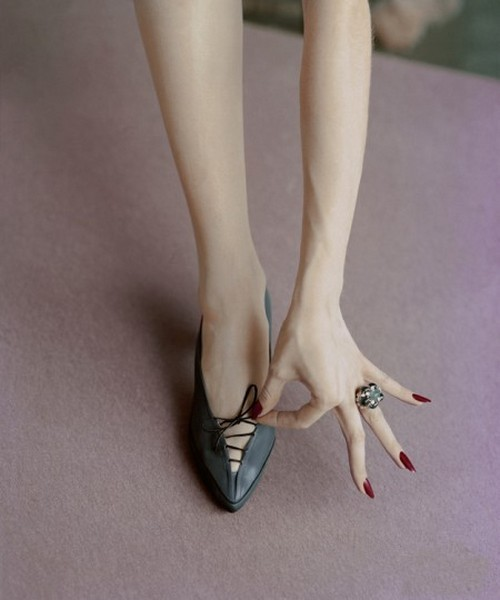 theniftyfifties:  Shoe fashion photographed by Richard Rutledge for Vogue, 1956.  #Shoeporn