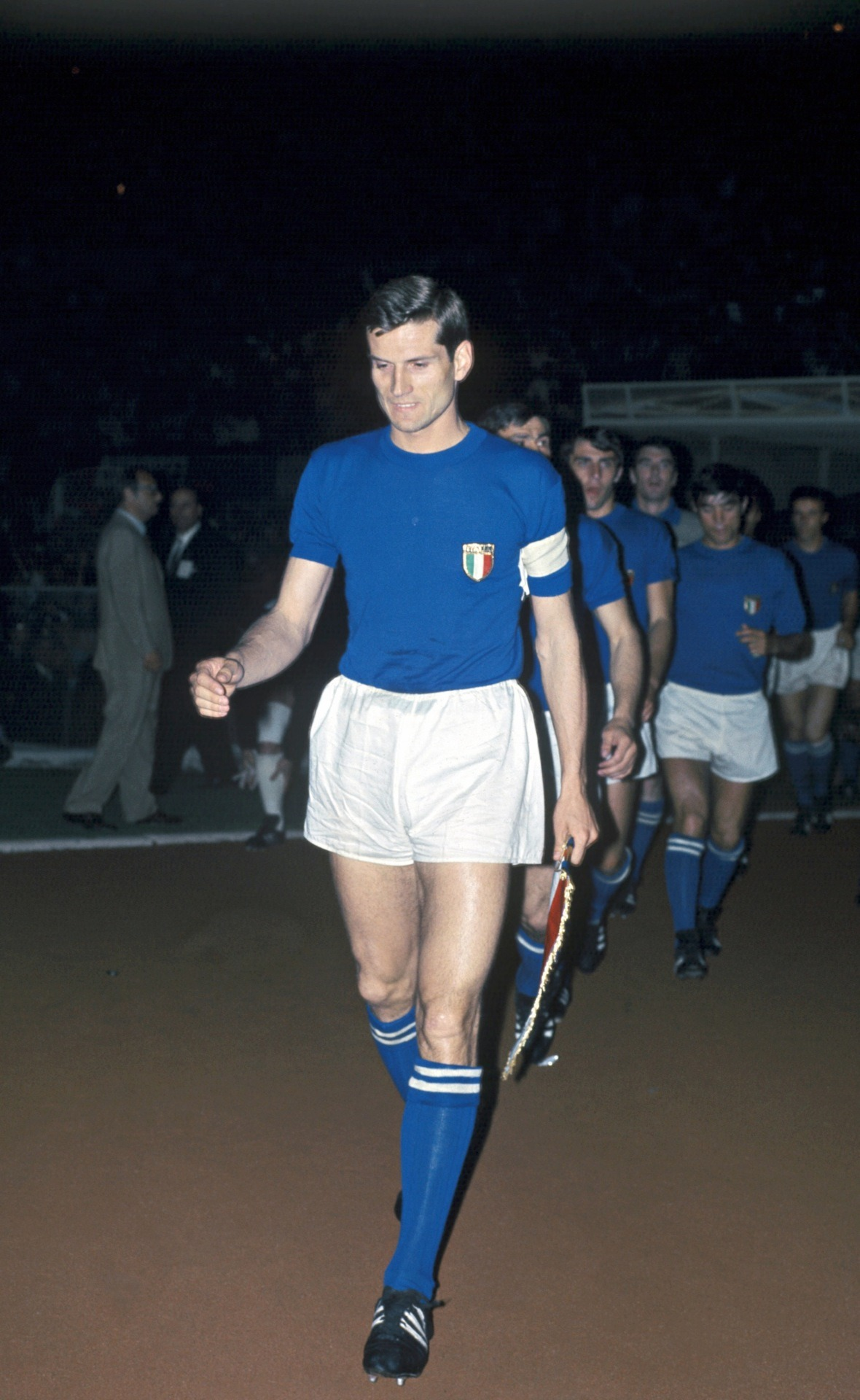 Giacinto Facchetti, leading Italy out against Yugoslavia for the final of Euro 1968.