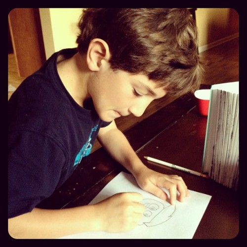 Drawing Cosmo before school. #FairlyOddParents (Taken with instagram)