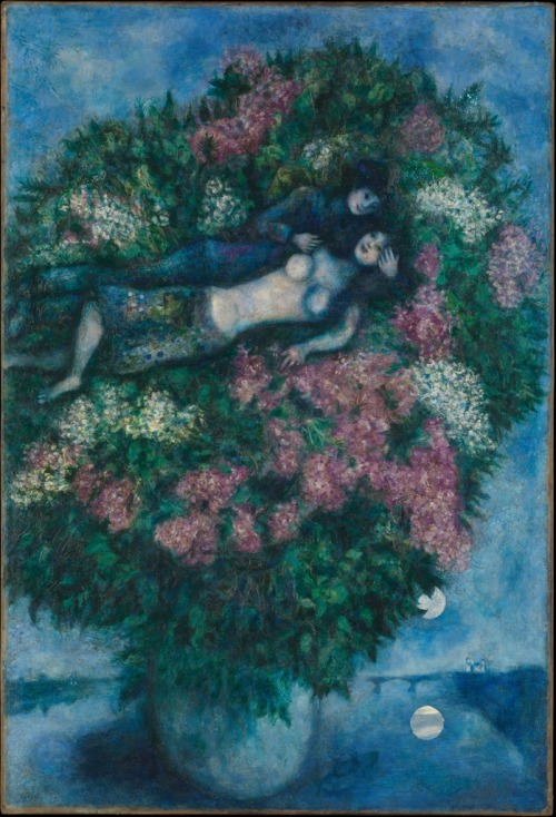Marc Chagall. Lovers among Lilacs. Oil on canvas, 1930.
