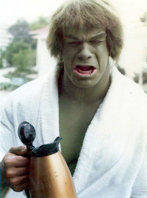 agentmlovestacos:  #nomorecoffee Saddest Hulk there is! billcorbett:  Hulk sad because Hulk not like decaf but also 'cause Hulk no understand why he must wear frizzy fright wig. are2:  Hulk sad    gjmueller: me without coffee