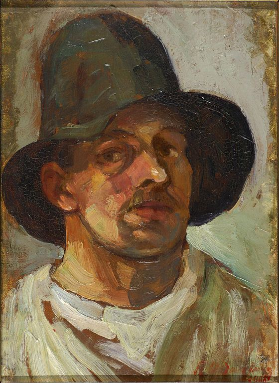 the-paintrist:  Theo van Doesburg, selfportrait with hat, 1906