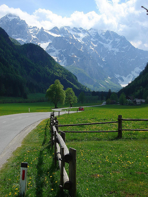 visitheworld:  Scenic road in Logarska Dolina Valley, Julian Alps, Slovenia (by Ian Watson).