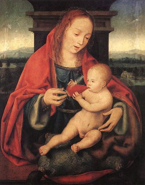 Joos van Cleve, Virgin and Child  Sip sip sippin' on gin and juice  (submitted by the mechanical infanta)