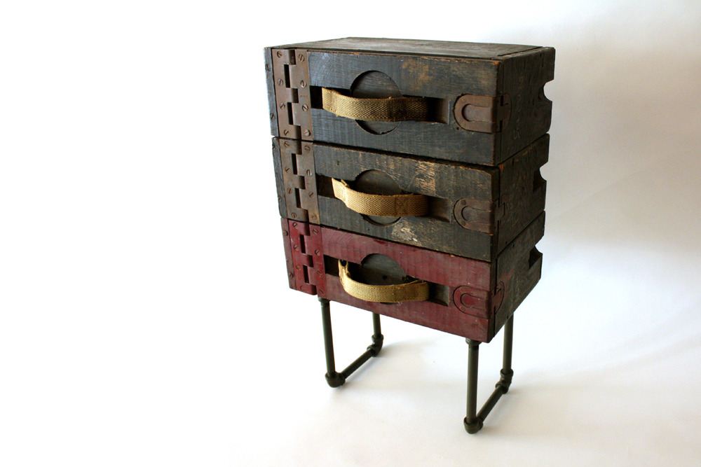 wearemfeo:  Repurposed WWI Ammo Case end table by MFEO.