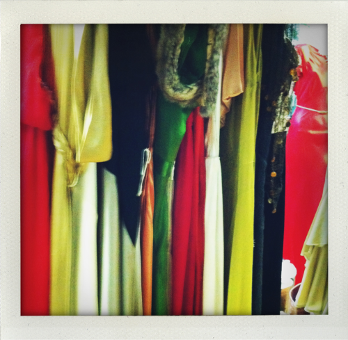 Rack of vintage gowns for shoot w Annie Leibowitz