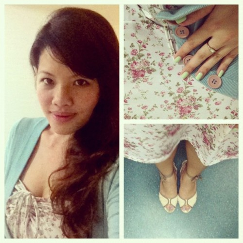 #ootd x #StyleMeMay / garden party // A English rose printed frock paired with a teal cardigan and ankle-tie wedges. (Taken with instagram)