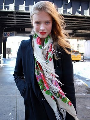 Loving her Floral and Frilly Scarf…Meatpacking District, NYC (via A Cup of Jo)