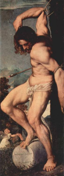 sweater-monster:  Titian, Saint Sebastian (from Polyptych of the Resurrection), 1520