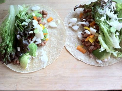 Wraps with some leftover pinto beans, avocado, a spread of vegan mayo, chopped onions and bell pepper and lettuce.