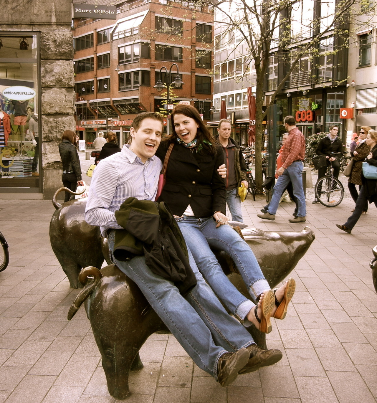 so apparently pigs are important in Bremen. So we sat on them.