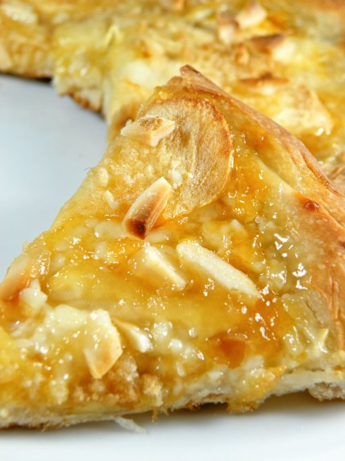 apricot-apple pizza with cream cheese and almond streusel click here for recipe