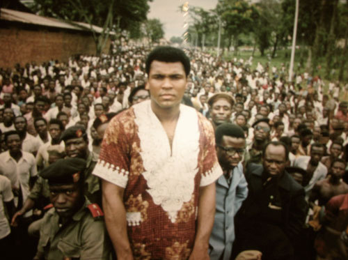 "jbeckford:  Photograph (1974) Muhammad Ali // Zaire ""Ali, Boom bye yae!"" Muhammad Ali in Zaire, Africa before his Rumble In The Jungle with George Foreman."