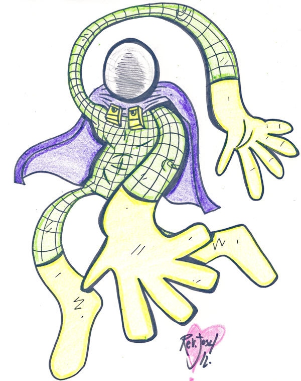 Monday. New Mysterio time. Little crayon action on this one. My Micron pens are totally dying, gonna have to get some new ones soon.
