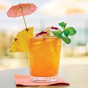 How do I make a Mai Tai? Mix 1 oz light rum, 1 oz dark rum, and 1/2 oz each of lime juice, orgeat syrup, and orange curacao in a shaker with 2 cups of ice; pour unstrained into an old-fashioned glass; add a maraschino cherry. http://beachbumberry.com/how-to-make-a-mai-tai/
