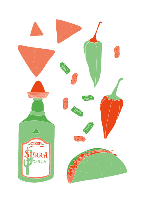 'Mexican Food'Edition of 25 2 Colour A3 Risograph Print Munken Polar 170gsm Signed and Numbered by the artist     Unframed £25(plus postage & packaging) UK ONLY     Framed £40(plus postage & packaging) UK ONLY