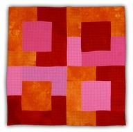 Pink-Orange-Red Squares. Eleanor McCain, quilt artist