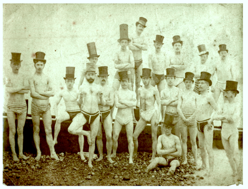 loverofbeauty:  Brighton Swimming Club, 1863  -Men in tall hats and tiny swimsuits, Steampunk-style.