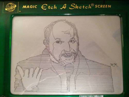 comedycentral:  Louis C.K. is doing another AmA right now. And someone drew him on an Etch A Sketch. So it's that kind of a day.  Someone painted him too.