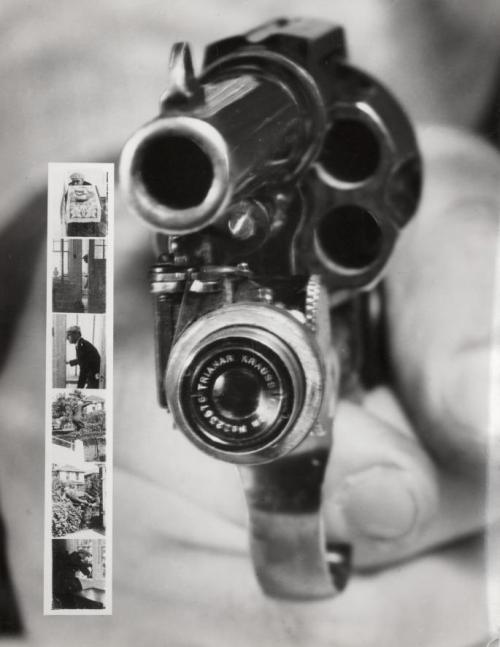 Revolver CameraFront view of a Colt 38 with built-in camera that automatically takes pictures when the trigger is pulled. Left a series of six images, taken with the gun camera. New York, 1938.