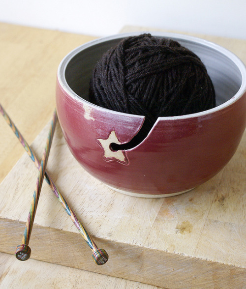 craftbloguk:  Red star yarn bowl by LittleWrenPottery1 on Flickr. Via Flickr: Hand thrown pottery yarn bowl