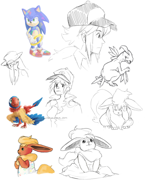 snowfruits:  More.. doodles… The Sonic and Archen are kind of old but I like them!  look at all these kaWAII BABIES