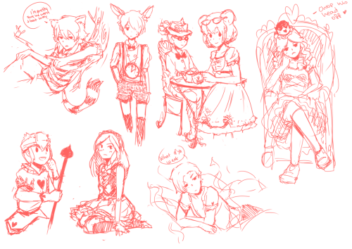 Alice in wonderland Inazuma eleven doodles done on LS!! : DD Thanks for watching everyone <3 I may (or may not) color this later <33 That's: Kariya as Cat of Cheshire, Kurama as the Rabbit, Kidou as the Mad Hatter, Haruna as the Mouse, Natsumi as the Queen of Hearts, Endou as one of the Queen's guards, Reina as Alice and Minamisawa as Absolem.