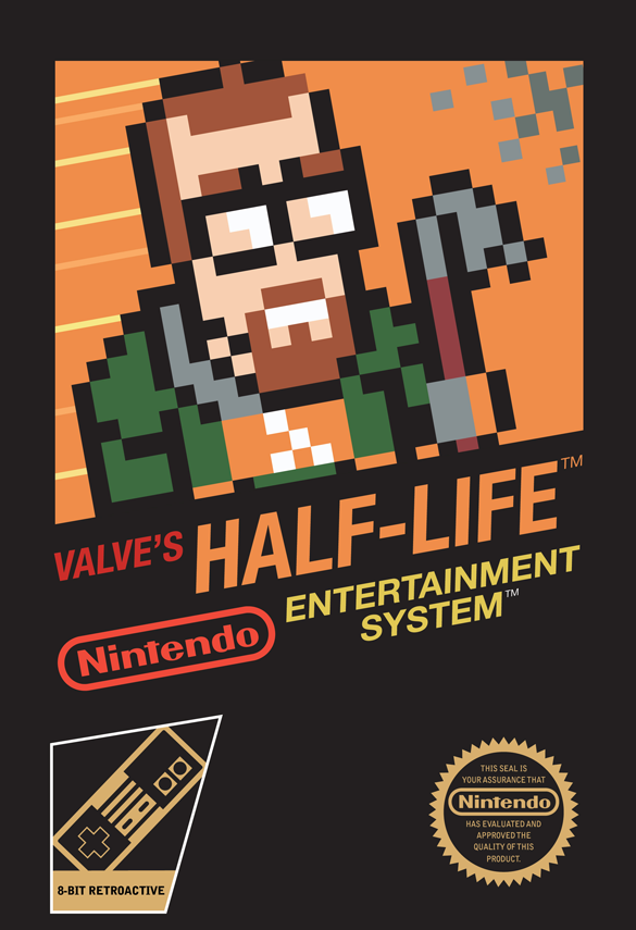 alexfili:   NES version of the Half-Life boxart http://kylefoster.me/angrygnomes/?p=599