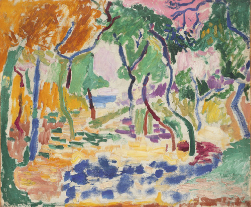 Henri Matisse, Landscape near Collioure [Study for Le Bonheur de Vivre], 1905, oil on Canvas, 18 1/8 × 21 5/8 in. (46 × 54.9 cm), Statens Museum for Kunst, Copenhagen. © 2012 Succession H. Matisse / Artists Rights Society (ARS), New York.