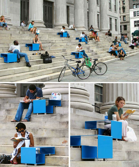 urbanfunscape:  People rest and relax on public steps anyway, why not give them a comfortable way to do so? Stair Squares, a concept by Mark Reigelman, are little blue tables that fit perfectly onto steps to offer little tables for eating and reading. The stairs were installed on the front steps of Brooklyn's Borough Hall in the summer of 2007.