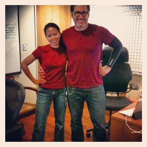 Mary Joy & I totally got the maroon T's and jeans. #dorks #memo (Taken with Instagram at CBS Television City Studios)
